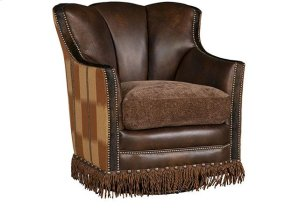 Pecos Leather/Fabric Swivel Glide Chair