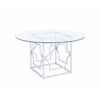 Modern Chrome & Glass Dining Table