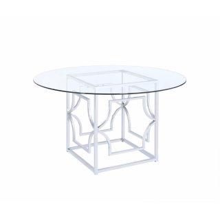 Modern Chrome & Glass Dining Table