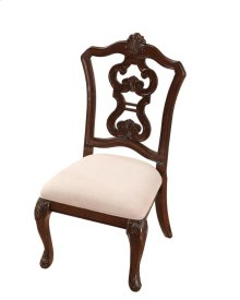 Pierced Back Side Chair W/uph Seat Rta Cherry