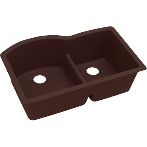 "Elkay Quartz Classic 33"" x 22"" x 10"", Offset 60/40 Double Bowl Undermount Sink with Aqua Divide, Pecan"