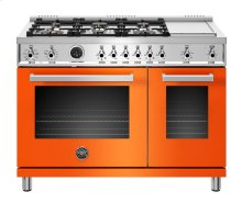 "48"" Professional Series range - Electric self clean oven - 6 brass burners + griddle"