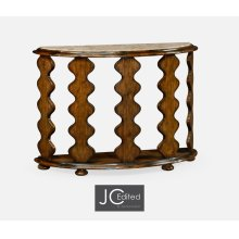 Demilune Console Table in Rustic Walnut