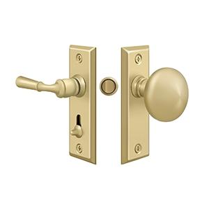 Storm Door Latch, Rectangular, Tubular Lock   Unlacquered Brass