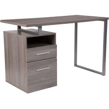 Harwood Light Ash Wood Grain Finish Computer Desk with Two Drawers and Silver Metal Frame
