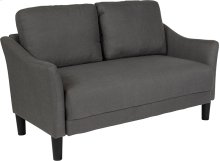 Asti Upholstered Living Room Loveseat in Dark Gray Fabric