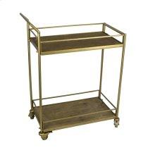 2-tier Wood/metal Bar Cart: Dull Gold