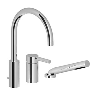Three-hole single-lever tub mixer for deck-mounted tub installation - matt platinum