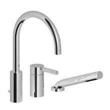 Three-hole single-lever tub mixer for deck-mounted tub installation - chrome