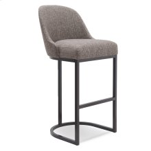 Barrelback Gray Linen Bar Stool with Espresso Metal Base #10133 ES/GL - Set of 2