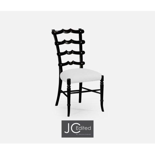 """Black """"Yoke"""" Ladderback Side Chair, Upholstered in COM"""