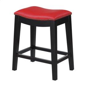 24'' Bar Stool W/no Back-kd-pu Red#al850-5 (2/ctn)