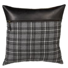 Grey Plaid Pillow and Black Faux Leather Top
