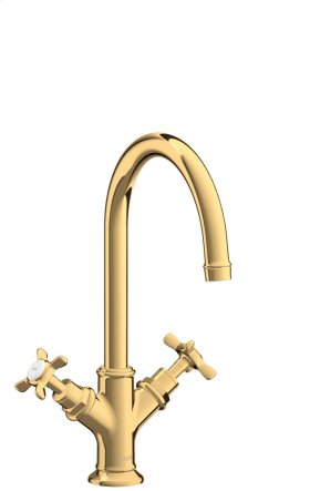 Polished Brass 2-handle basin mixer 210 with cross handles and pop-up waste set