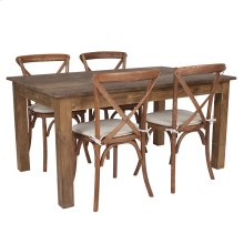 """60"""" x 38"""" Antique Rustic Farm Table Set with 4 Cross Back Chairs and Cushions"""