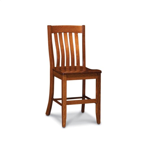 Bradford Stationary Barstool, Wood Seat
