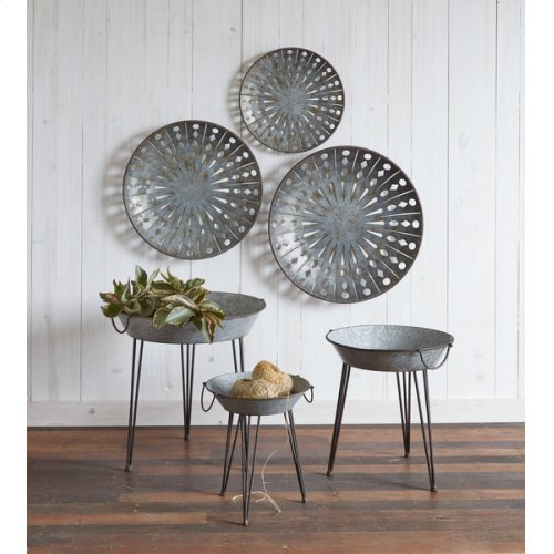 Distressed Galvanized Round Wall Decor with Cut-outs (3 pc. set)