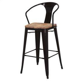 Metropolis Metal Counter Stool Wood Seat, Black