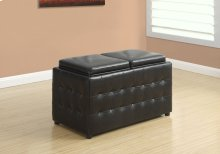 "OTTOMAN - 32""L / STORAGE TRAYS / DARK BROWN LEATHER-LOOK"