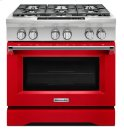 KitchenAid® 36-Inch 6-Burner Dual Fuel Freestanding Range, Commercial-Style - Signature Red