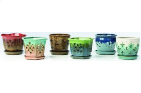"""6"""" Orchid Pots with Attached Saucer - Set of 6"""