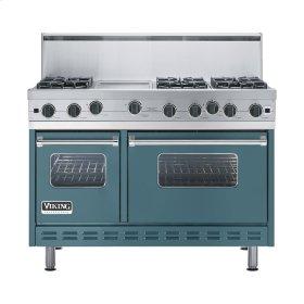 """Iridescent Blue 48"""" Open Burner Range - VGIC (48"""" wide, six burners 12"""" wide griddle/simmer plate)"""