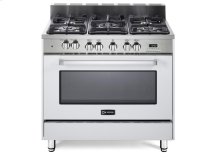 """White 36"""" Dual Fuel Convection Range with Single Oven"""
