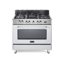 "White 36"" Dual Fuel Convection Range with Single Oven"