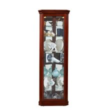 Lighted 8 Shelf Corner Curio Cabinet in Victorian Brown