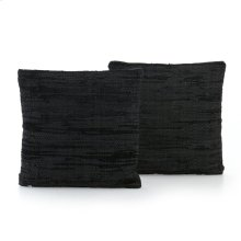 Stitch Black Leather Pillow,set of 2-20""