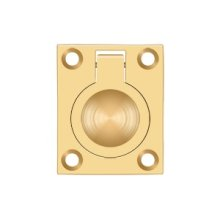 "Flush Ring Pull, 1 3/4""x 1 3/8"" - PVD Polished Brass"