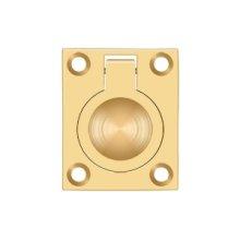 "Flush Ring Pull, 1 3/4""x 1 3/8"" - PVD Polished Brass"