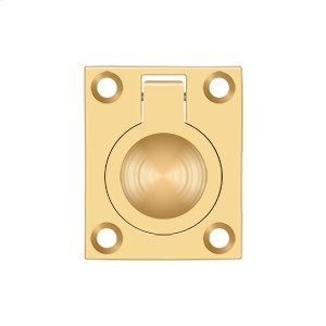 """Flush Ring Pull, 1 3/4""""x 1 3/8"""" - PVD Polished Brass Product Image"""