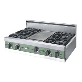 """Mint Julep 36"""" Open Burner Rangetop - VGRT (36"""" wide, four burners 12"""" wide griddle/simmer plate)"""