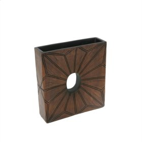 Square Brown Vase W/ Hole 10""