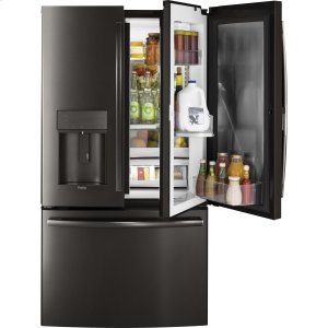 GE Profile™ Series 22.2 Cu. Ft. Counter-Depth French-Door Refrigerator with Door In Door and Hands-Free AutoFill - BLACK STAINLESS