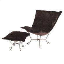 Scroll Puff Chair Mink Brown Titanium Frame
