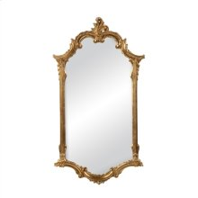 Elegant Mirror in Antiqued Gold Metal Leaf Finish, C-Scroll Motif