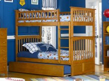 Columbia Bunk Bed Twin over Twin with Urban Trundle Bed in Caramel Latte