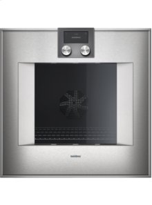 """400 series single oven BO 451 610 Stainless steel-backed full glass door Width 24"""" (60 cm) Left-hinged controls on top"""