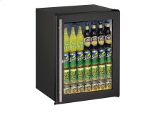 "Ada Series 24"" Ada Glass Door Refrigerator With Black Frame (lock) Finish and Field Reversible Door Swing"