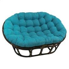 Bali Rattan Mamasan Double Papasan Chair with Microsuede Plush Cushionss - Walnut/Aqua Blue
