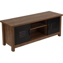 New Lancaster Collection Crosscut Oak Wood Grain Finish Storage Bench with Metal Cabinet Doors