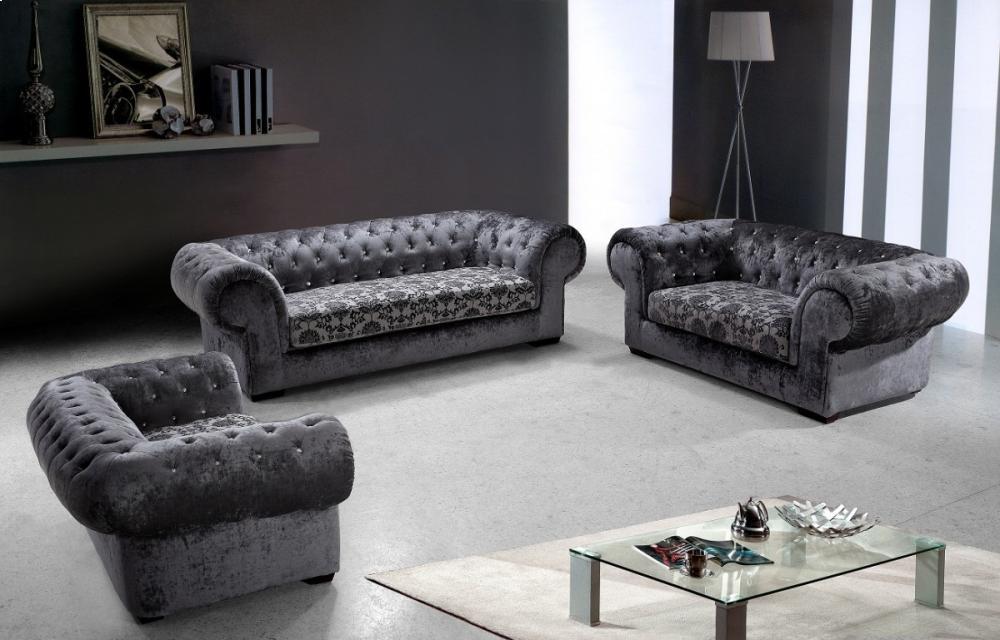 Divani Casa Metropolitan   Modern Fabric Sofa Set With Tufted Acrylic  Crystals