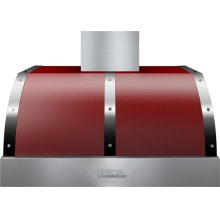 Hood DECO 36'' Red matte, Chrome 1 power blower, electronic buttons control, baffle filters