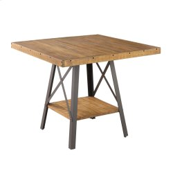 Square Gather Table-burnt Amber Finish-antique Black Metal Legs Product Image