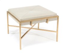 Gold Metal Leather Ottoman