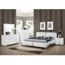 Felicity Contemporary White Upholstered Eastern King Bed