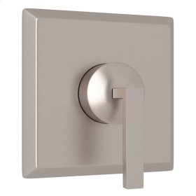 Satin Nickel Wave 4-Port, 3-Way Diverter Trim with Metal Lever