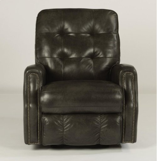 Devon Leather Rocking Recliner with Nailhead Trim